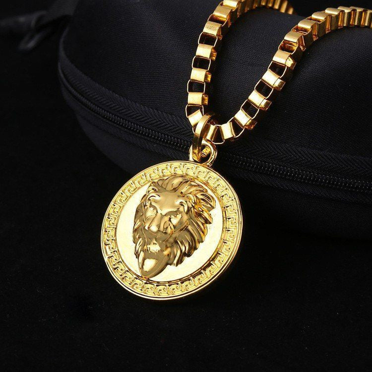196 - 18K Gold Plated Lion's Head Medallion