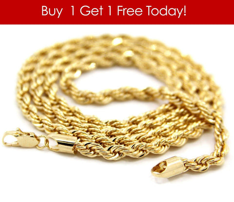14K Quality Plated Gold Rope Chain -Buy 1 Get 1 Free