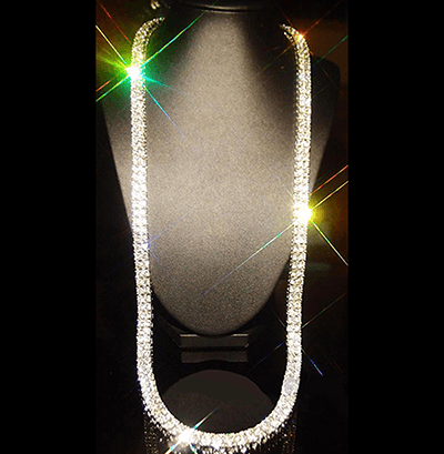 14k White Gold Chain - 2 ROW Clear CZ