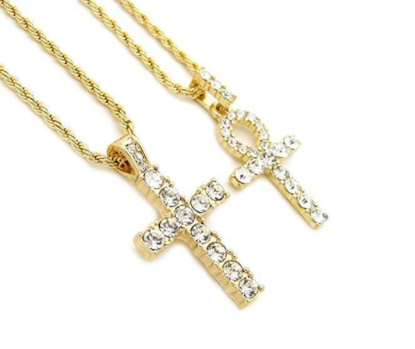 Iced Out Micro Cross & Ankh