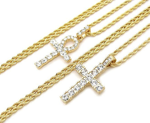 Iced Out Micro Cross & Ankh Combo
