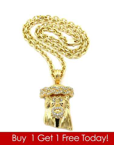 Gold Jesus Piece Chain & Necklace (Buy 1 Get 1 Free)