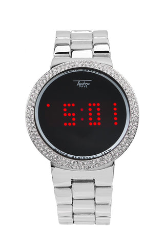 LED 14K Plated White Gold Watch