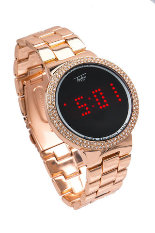 LED 14K Plated Rose Gold Watch