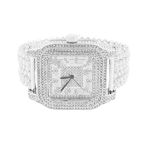 White Gold Fully Iced Out Watch - Square Face