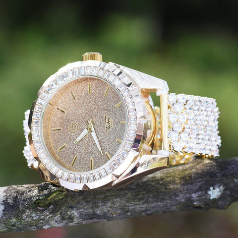 Yellow Gold Cluster Iced Out Watch