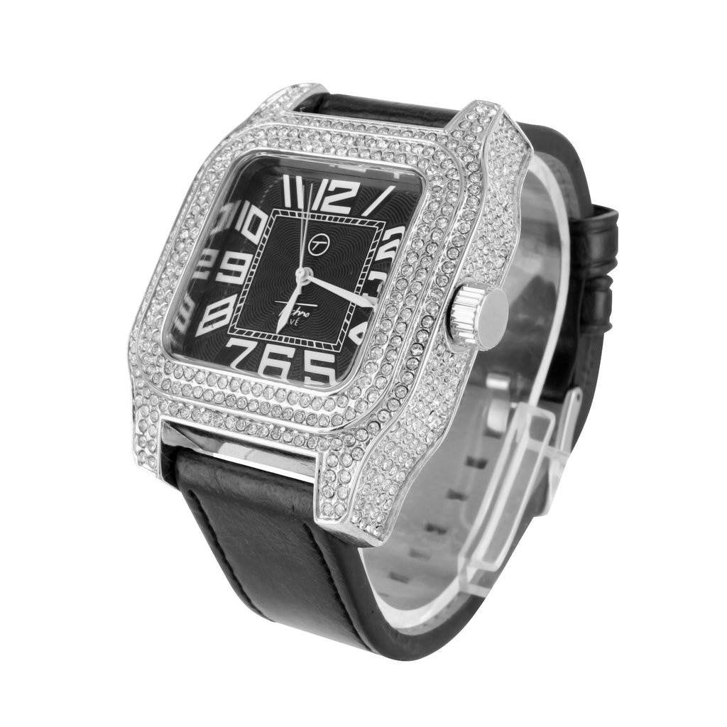 Iced Out Watch w/ Black Leather Strap