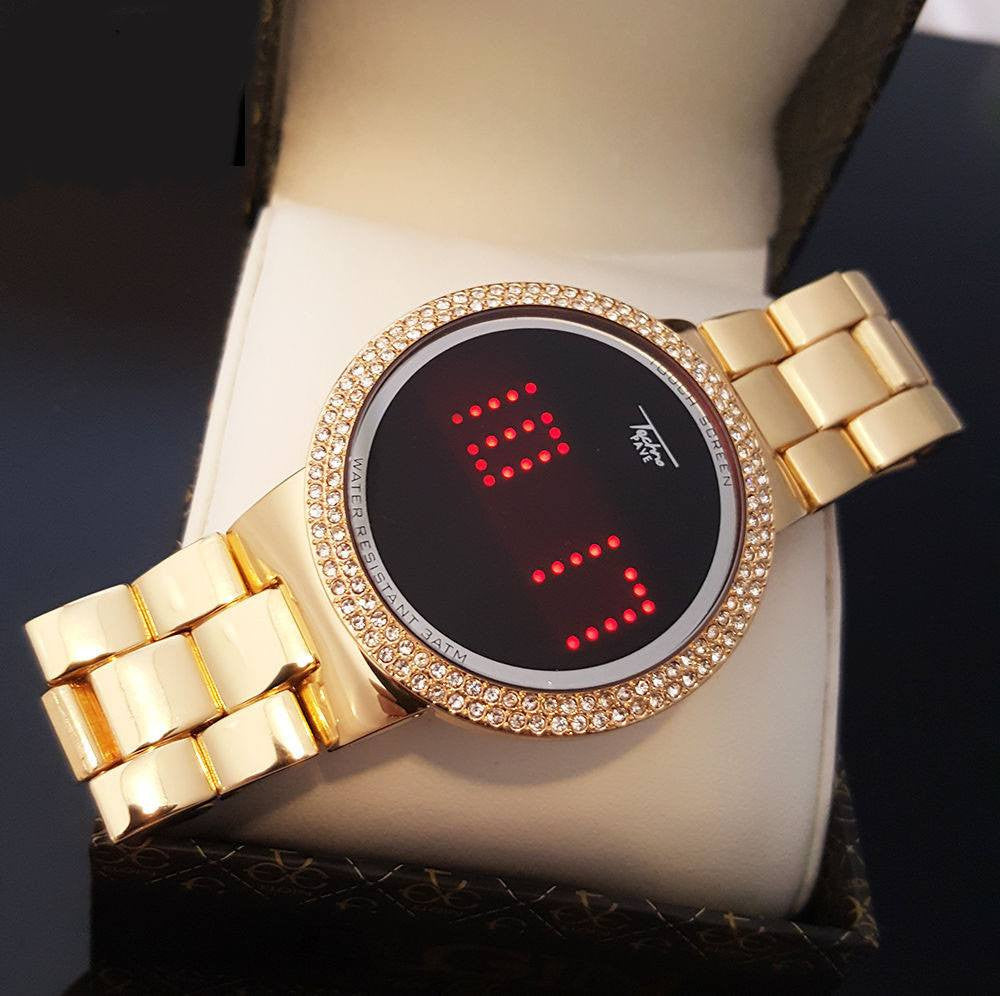 LED 14K Plated Gold Watch
