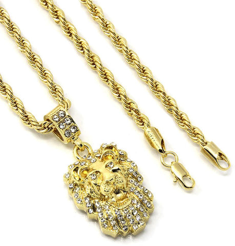Google_product_category - 14K Gold Plated Lion Head Pendant + Chain