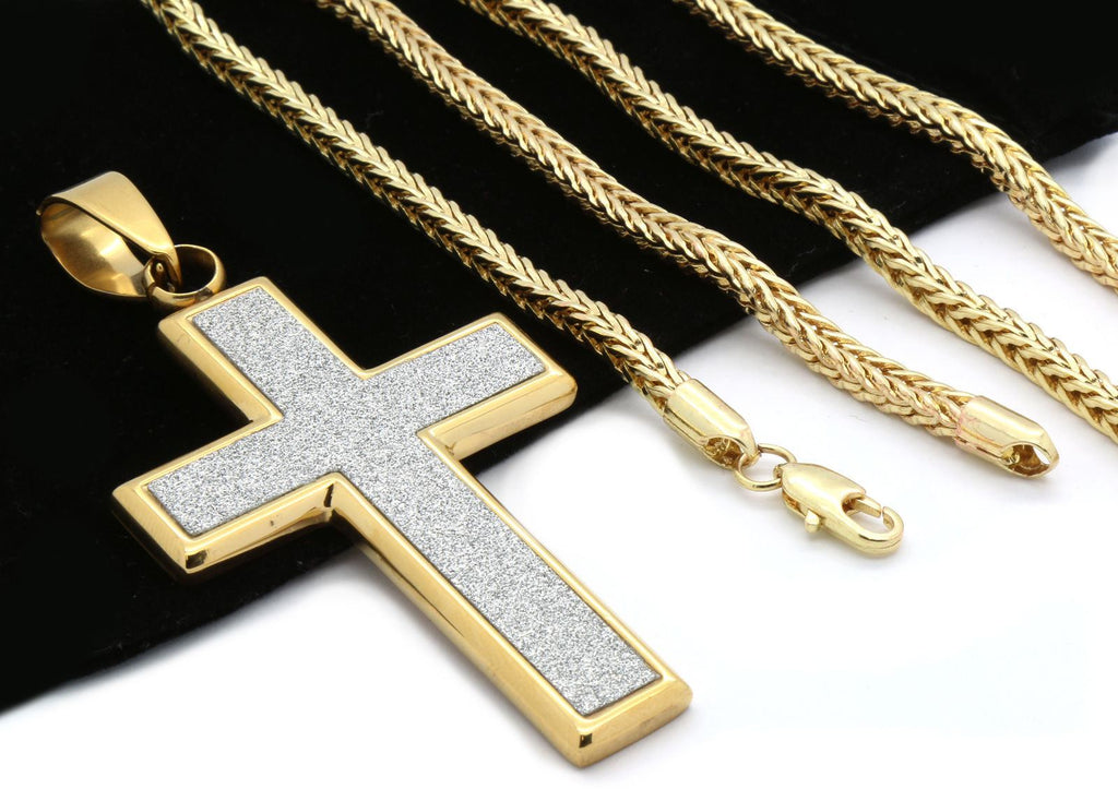 "Google_product_category - 14K Plated Gold Cross & 30"" Franco Chain"