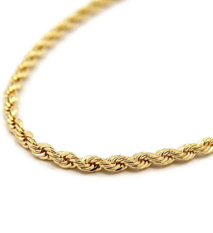 14K Quality Plated Gold Rope Chain - 24 Inches