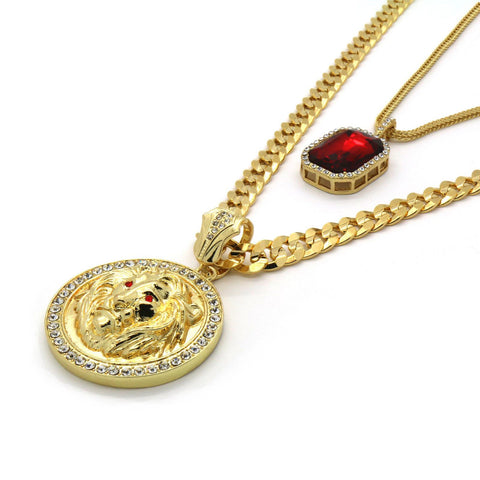 Google_product_category - Fierce Lion Medallion & Red Ruby Set