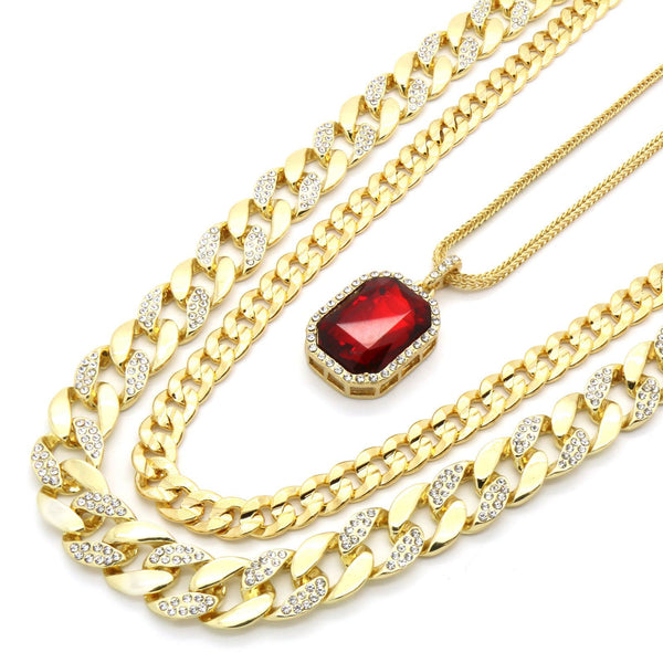 Google_product_category - Frosted Miami Cuban Link Set W/ Ruby Necklace