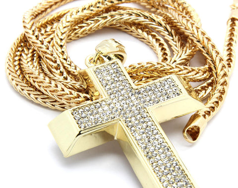 "Google_product_category - Gold Cross & Stones W/ 36"" Chain"