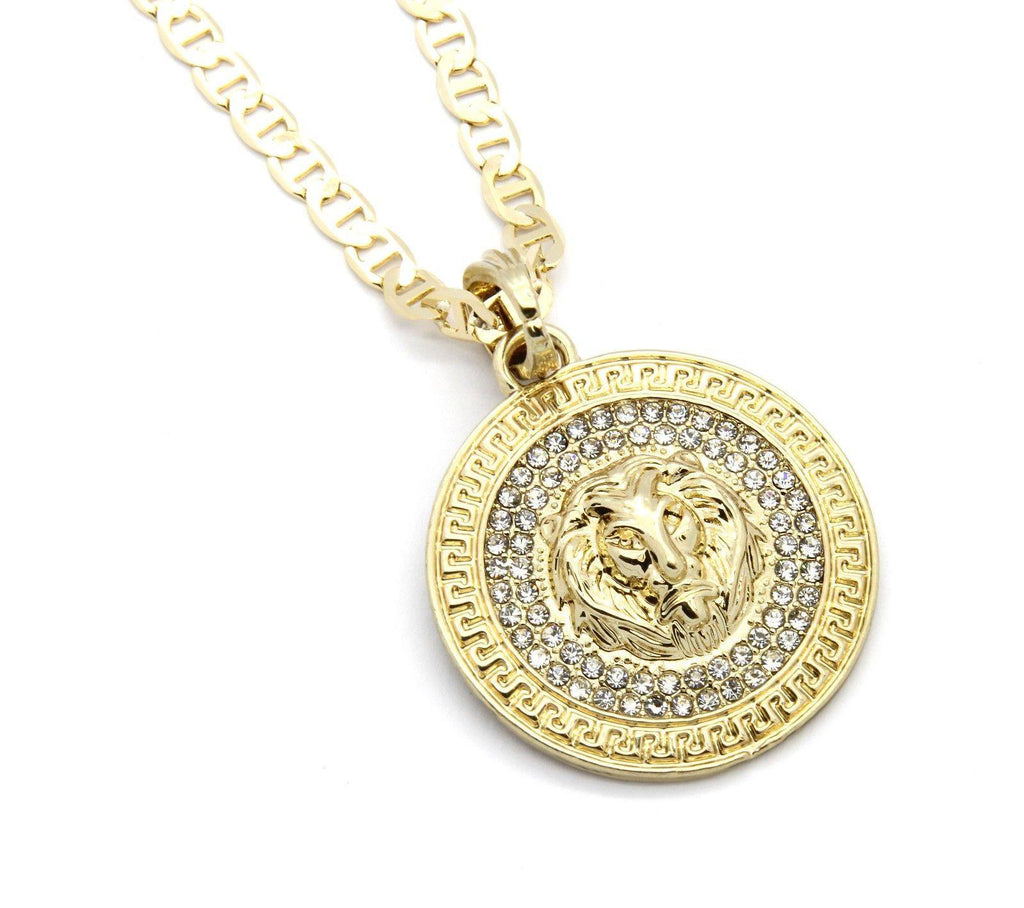 Google_product_category - Gold Lion Medallion & Chain
