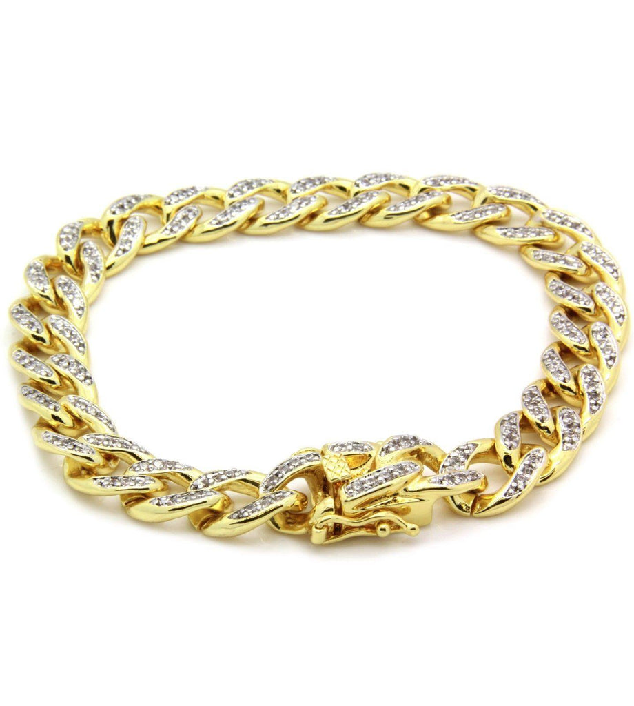 Google_product_category - Iced Out Cuban Link Bracelet - 14k Gold Plated