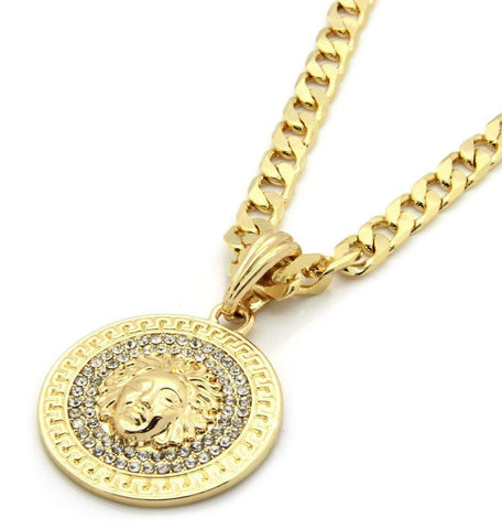 "Google_product_category - Medusa Medallion Iced Out With 24"" Cuban Link Chain"