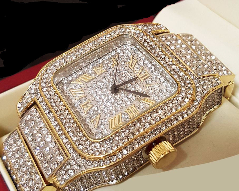 Two Tone Fully Iced Out Watch