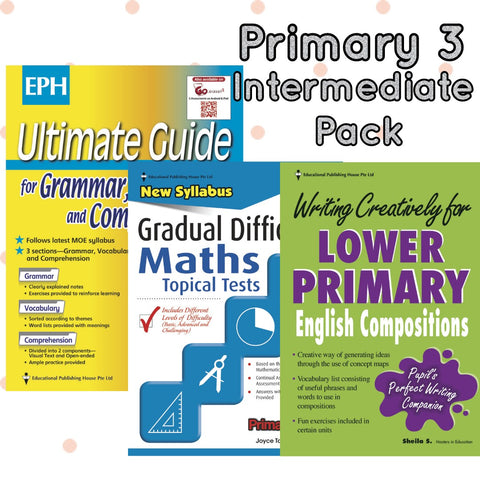 Intermediate Pack Primary 3 Maths, English & Writing - singapore-books