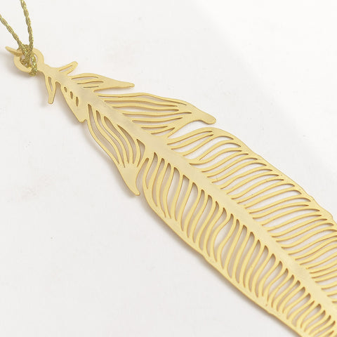 Feather 24K Gold Plated - Metal Bookmark