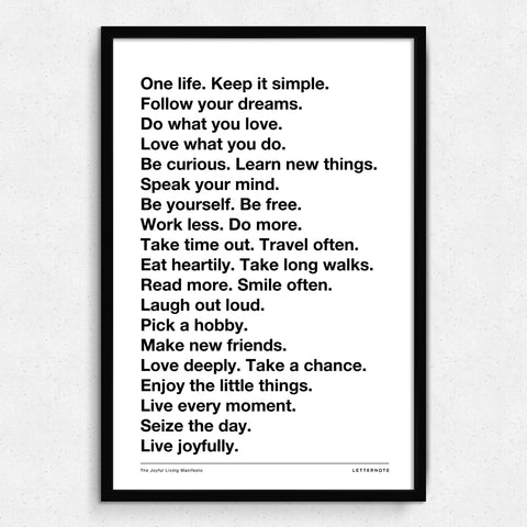 Live Joyfully Manifesto - White Art Print