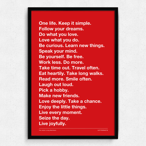 Live Joyfully Manifesto - Red Art Print