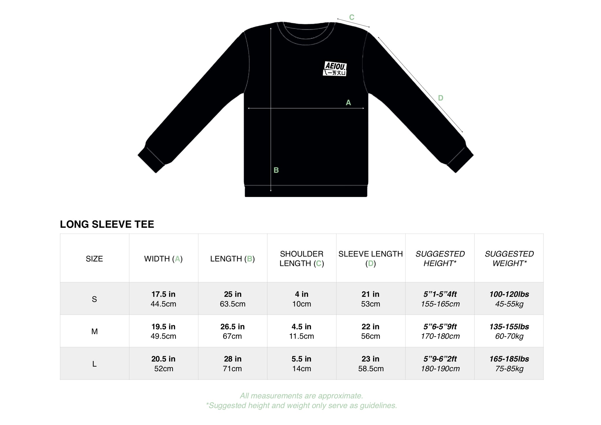 AEIO:U Long Sleeve Sizing Chart