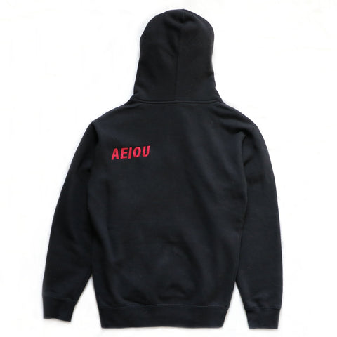 EMBROIDERED LOGO HOODIE - BLACK/RED