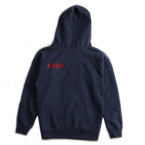 EMBROIDERED LOGO HOODIE - NAVY/RED