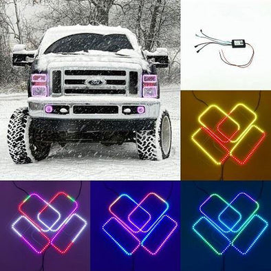 08-10 Ford F250/F350 RGB flow chasing halo headlight kits with bluetooth controller