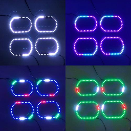 14-15 GMC Sierra RGB chasing flow halo headlight kits with Bluetooth remote controller-Vivid Light Bars