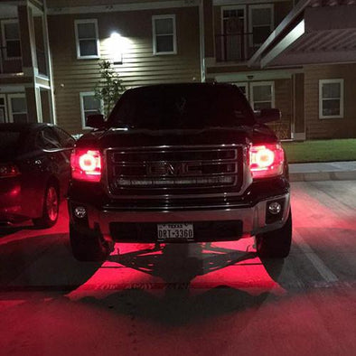 14-15 GMC Sierra RGB halo headlight kits with Bluetooth remote controllers-Vivid Light Bars