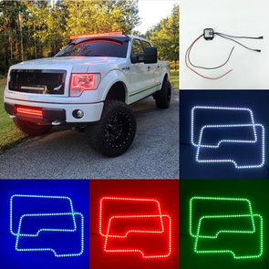 2009-2014 Ford150 RGB halo headlight kits with bluetooth remote