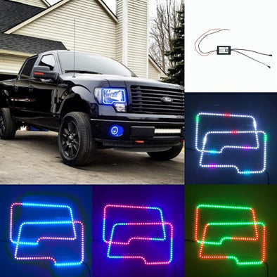2009-2014 Ford150 RGB chasing halo headlight kits with bluetooth remote