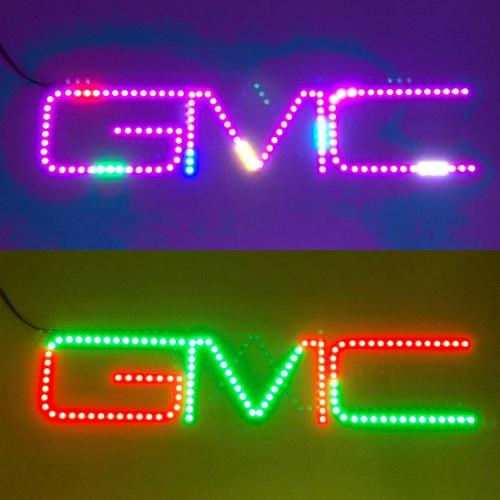 2011 - 2017 GMC Emblem RGB LED Logo Light Chase Flow Pattern with Bluetooth App remote control-Vivid Light Bars