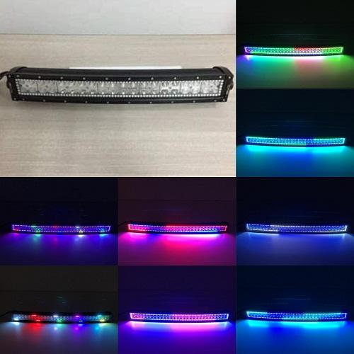 "21.5"" Curved RGB Chasing Flow Halo Light Bar With Bluetooth App Remote Control-RGB Chasing Curved Light Bar-Vivid Light Bars"