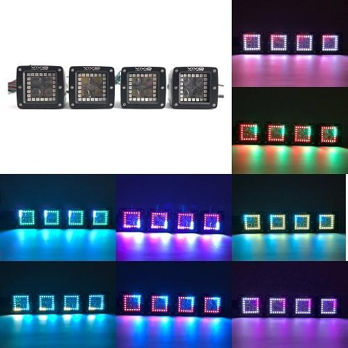 "3"" 20W 4D RGB Chasing Halo Pods with Bluetooth App Remote Control-RGB Chasing halo Pods-Vivid Light Bars"