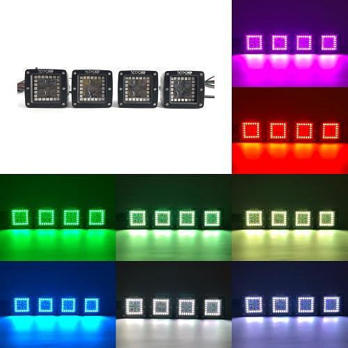 "3"" 20W 4D RGB Halo Pods with Bluetooth App Remote Control-RGB Halo Pods-Vivid Light Bars"