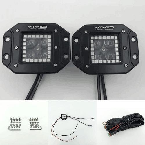 "3"" 5D 40W RGB halo led flush mount pods with Bluetooth App Remote Control-RGB Halo Pods-Vivid Light Bars"