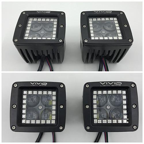 "3"" 5D 40W RGB halo LED Pods/ Cubes with Bluetooth App remote Control-RGB Halo Pods-Vivid Light Bars"