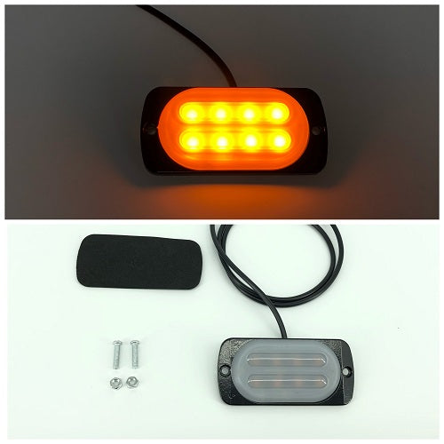 3.5'' 8W 8-LED Double Row Car Truck Emergency Warning LED Strobe Side Flash Light-led flash lights-Vivid Light Bars