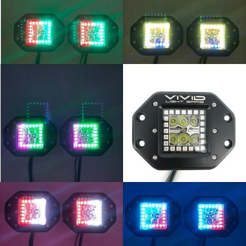 "3.2"" 30W Flush Mount RGB Chasing halo Led Pods Cubes With Bluetooth Remote Control-RGB Halo chasing Pods-Vivid Light Bars"