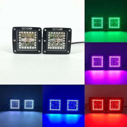 "3.2"" 30w RGB Halo Led Pods Cubes With Bluetooth Remote Control-RGB Halo Pods-Vivid Light Bars"