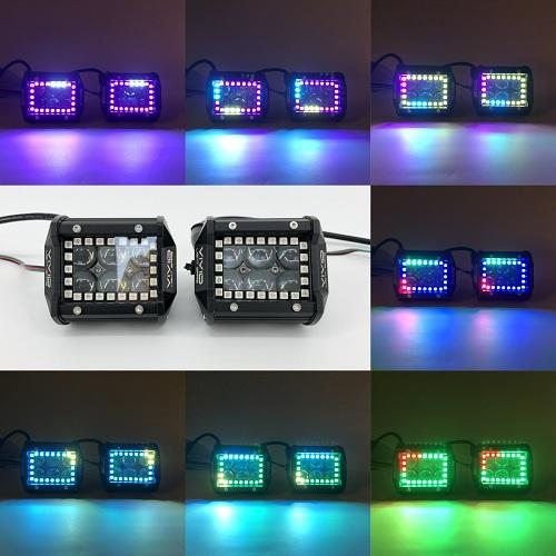 "4"" 4D 30W RGB Chasing Halo LED Pods With Bluetooth App Remote Control-RGB Halo Pods-Vivid Light Bars"