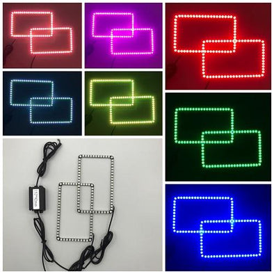"4"" x 6"" RGB Halo Headlight kits with Bluetooth App Music Controller-Vivid Light Bars"