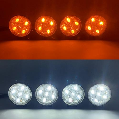 4.5'' Dual Color Round Heavy Duty High Powered Off-Road Work Lights (25W white, 12W amber) - Vivid Light Bars