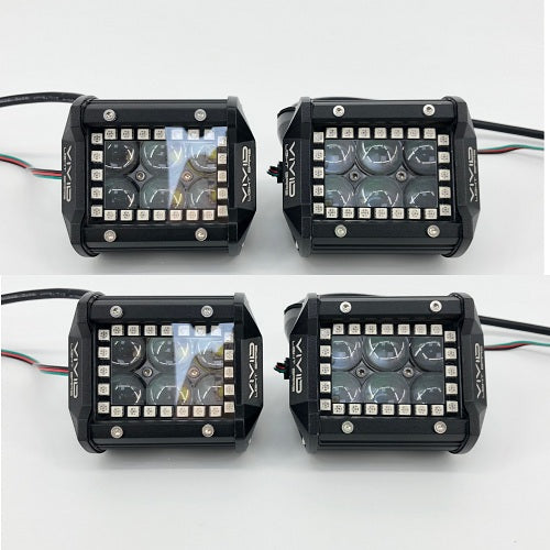 "4"" 4D 30W RGB halo LED Pods with Bluetooth App Remote Control---Vivid Light Bars"