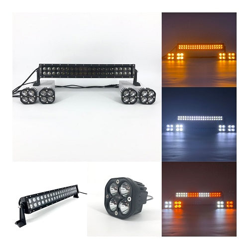 "Package of 1 Dual Color Light Bar & Mini 3"" Dual Color strobe LED work light pods-New Arrival-Vivid Light Bars"