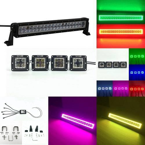 Package of 1 RGB Halo Light Bar & 4 Pack RGB Halo Pods with Bluetooth App Remote Control-Vivid Light Bars