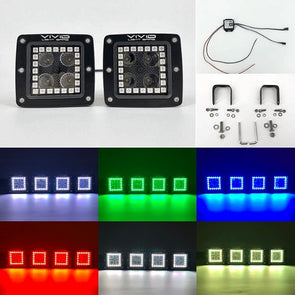 "3.2"" 20w RGB Halo Led Pods Cubes With Bluetooth Remote Control-RGB Halo Pods-Vivid Light Bars"